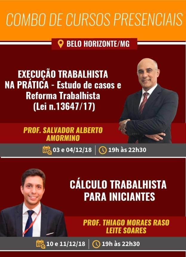 COMBO DE CURSOS PRESENCIAIS - Execução trabalhista na prática+ Cálculo trabalhista para iniciantes